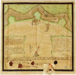 Plán vodovodu z hradebního příkopu N. Města 1684